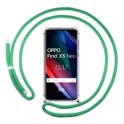 Funda Colgante Transparente para Oppo Find X3 Neo 5G con Cordon Verde Agua