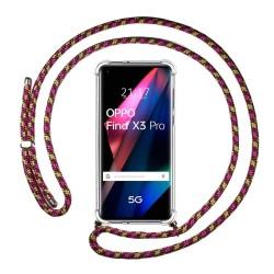 Funda Colgante Transparente para Oppo Find X3 Pro 5G con Cordon Rosa / Dorado