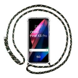 Funda Colgante Transparente para Oppo Find X3 Pro 5G con Cordon Verde / Dorado