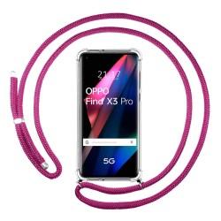 Funda Colgante Transparente para Oppo Find X3 Pro 5G con Cordon Rosa Fucsia