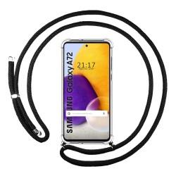 Funda Colgante Transparente para Samsung Galaxy A72 con Cordon Negro