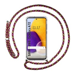 Funda Colgante Transparente para Samsung Galaxy A72 con Cordon Rosa / Dorado