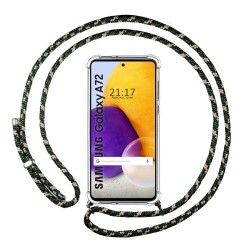 Funda Colgante Transparente para Samsung Galaxy A72 con Cordon Verde / Dorado