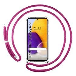 Funda Colgante Transparente para Samsung Galaxy A72 con Cordon Rosa Fucsia