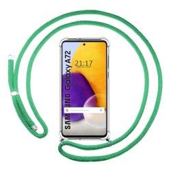 Funda Colgante Transparente para Samsung Galaxy A72 con Cordon Verde Agua