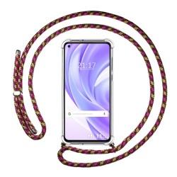 Funda Colgante Transparente para Xiaomi Mi 11 Lite 4G / 5G con Cordon Rosa / Dorado