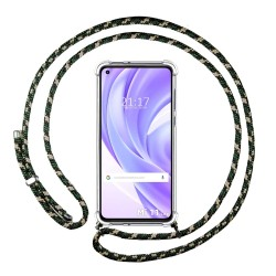 Funda Colgante Transparente para Xiaomi Mi 11 Lite 4G / 5G con Cordon Verde / Dorado