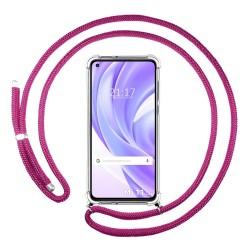 Funda Colgante Transparente para Xiaomi Mi 11 Lite 4G / 5G con Cordon Rosa Fucsia