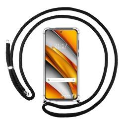 Funda Colgante Transparente para Xiaomi POCO F3 5G con Cordon Negro