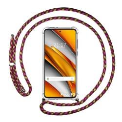 Funda Colgante Transparente para Xiaomi POCO F3 5G con Cordon Rosa / Dorado