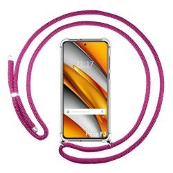 Funda Colgante Transparente para Xiaomi POCO F3 5G con Cordon Rosa Fucsia