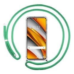 Funda Colgante Transparente para Xiaomi POCO F3 5G con Cordon Verde Agua