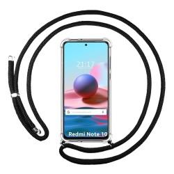 Funda Colgante Transparente para Xiaomi Redmi Note 10 / 10S con Cordon Negro