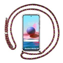 Funda Colgante Transparente para Xiaomi Redmi Note 10 / 10S con Cordon Rosa / Dorado