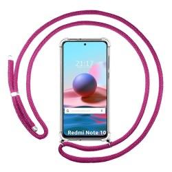 Funda Colgante Transparente para Xiaomi Redmi Note 10 / 10S con Cordon Rosa Fucsia