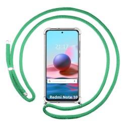 Funda Colgante Transparente para Xiaomi Redmi Note 10 / 10S con Cordon Verde Agua