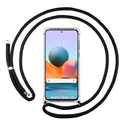 Funda Colgante Transparente para Xiaomi Redmi Note 10 Pro con Cordon Negro