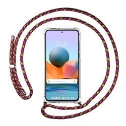 Funda Colgante Transparente para Xiaomi Redmi Note 10 Pro con Cordon Rosa / Dorado
