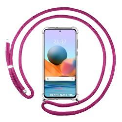 Funda Colgante Transparente para Xiaomi Redmi Note 10 Pro con Cordon Rosa Fucsia