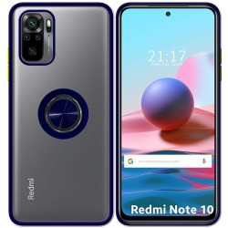 Funda Mate con Borde Azul y Anillo Giratorio 360 para Xiaomi Redmi Note 10 / 10S