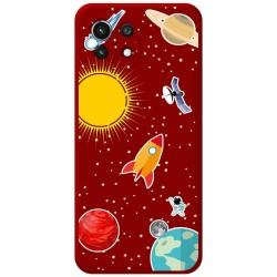Funda Silicona Líquida Roja para Xiaomi Mi 11 Lite 4G / 5G diseño Espacio Dibujos