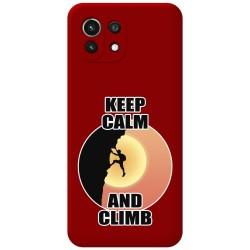 Funda Silicona Líquida Roja para Xiaomi Mi 11 Lite 4G / 5G diseño Hombre Escalada Dibujos