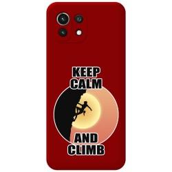 Funda Silicona Líquida Roja para Xiaomi Mi 11 Lite 4G / 5G diseño Mujer Escalada Dibujos