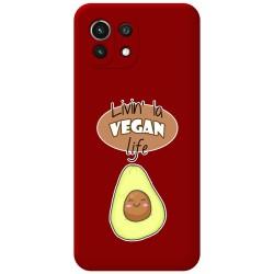Funda Silicona Líquida Roja para Xiaomi Mi 11 Lite 4G / 5G diseño Vegan Life Dibujos
