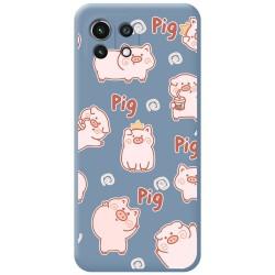 Funda Silicona Líquida Azul para Xiaomi Mi 11 Lite 4G / 5G diseño Cerdos Dibujos