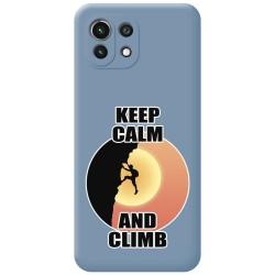 Funda Silicona Líquida Azul para Xiaomi Mi 11 Lite 4G / 5G diseño Hombre Escalada Dibujos