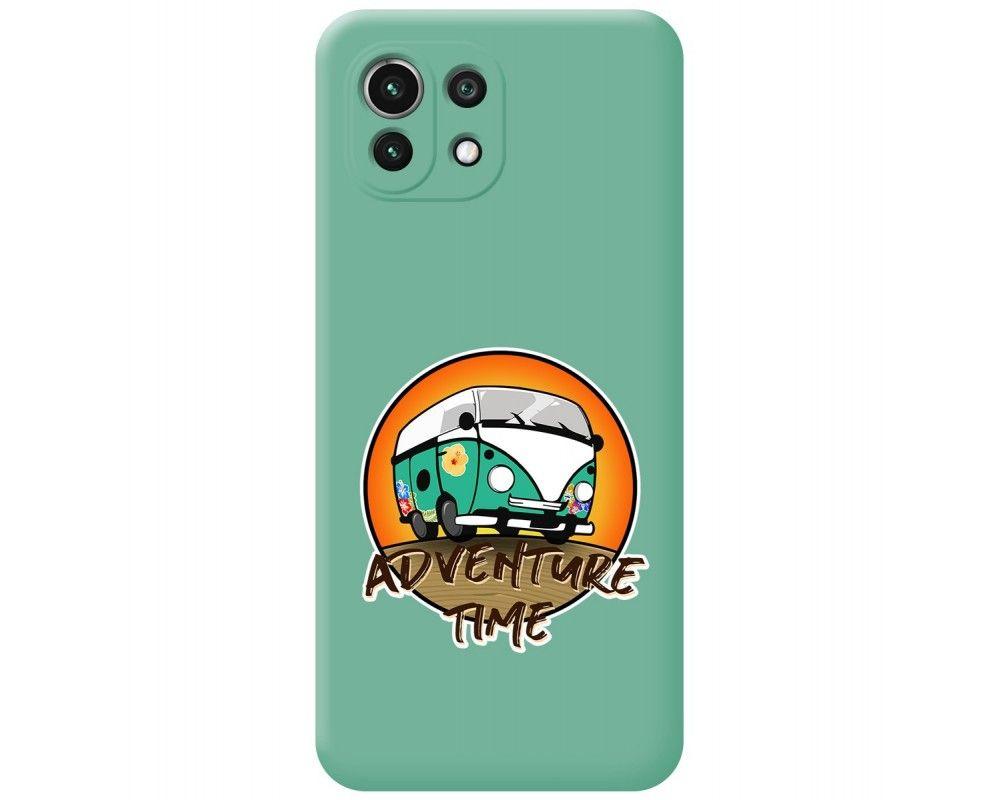 Funda Silicona Líquida Verde para Xiaomi Mi 11 Lite 4G / 5G diseño Adventure Time Dibujos