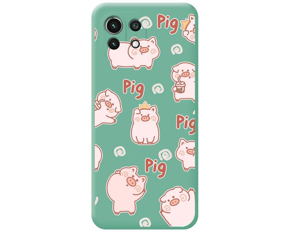 Funda Silicona Líquida Verde para Xiaomi Mi 11 Lite 4G / 5G diseño Cerdos Dibujos