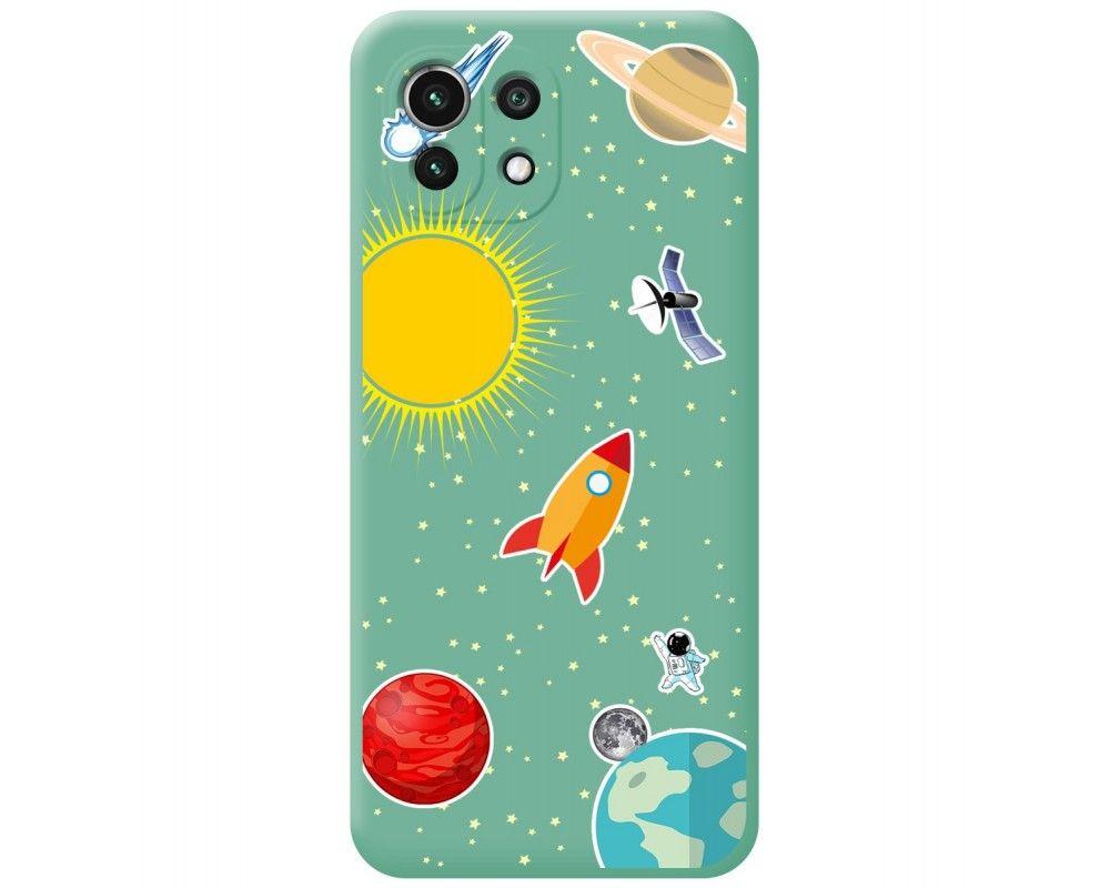 Funda Silicona Líquida Verde para Xiaomi Mi 11 Lite 4G / 5G diseño Espacio Dibujos