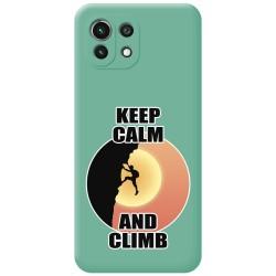 Funda Silicona Líquida Verde para Xiaomi Mi 11 Lite 4G / 5G diseño Hombre Escalada Dibujos