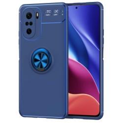 Funda Magnetica Soporte con Anillo Giratorio para Xiaomi POCO F3 5G Azul