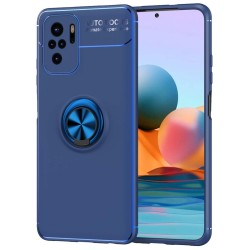 Funda Magnetica Soporte con Anillo Giratorio para Xiaomi Redmi Note 10 / 10S Azul