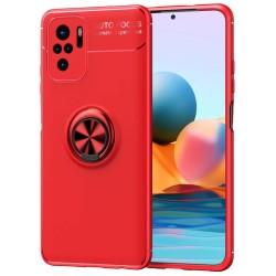 Funda Magnetica Soporte con Anillo Giratorio para Xiaomi Redmi Note 10 / 10S Roja