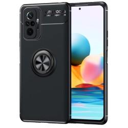 Funda Magnetica Soporte con Anillo Giratorio para Xiaomi Redmi Note 10 Pro Negra