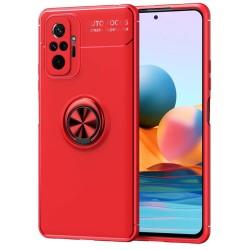 Funda Magnetica Soporte con Anillo Giratorio para Xiaomi Redmi Note 10 Pro Roja