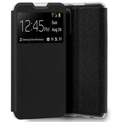 Funda Libro Soporte con Ventana para Oppo Find X3 Pro 5G color Negra