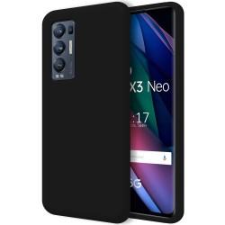 Funda Silicona Líquida Ultra Suave para Oppo Find X3 Neo 5G color Negra
