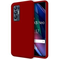 Funda Silicona Líquida Ultra Suave para Oppo Find X3 Neo 5G color Roja