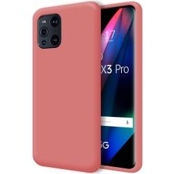 Funda Silicona Líquida Ultra Suave para Oppo Find X3 Pro 5G color Rosa