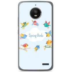 Funda Gel Tpu para Motorola Moto E4 Diseño Spring Birds Dibujos