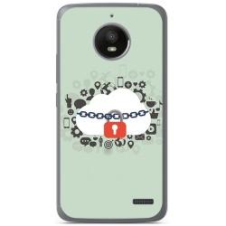 Funda Gel Tpu para Motorola Moto E4 Diseño Nube Dibujos