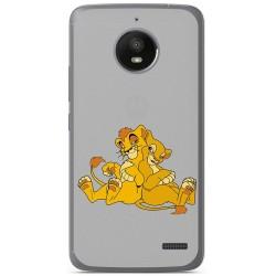 Funda Gel Tpu para Motorola Moto E4 Diseño Leones Dibujos