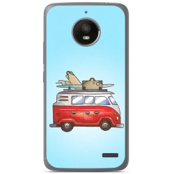 Funda Gel Tpu para Motorola Moto E4 Diseño Furgoneta Dibujos