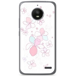 Funda Gel Tpu para Motorola Moto E4 Diseño Flores Minimal Dibujos