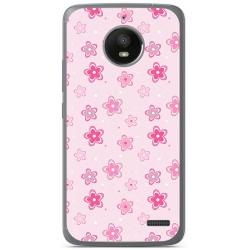 Funda Gel Tpu para Motorola Moto E4 Diseño Flores Dibujos