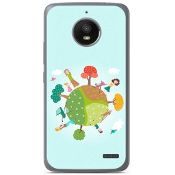 Funda Gel Tpu para Motorola Moto E4 Diseño Familia Dibujos